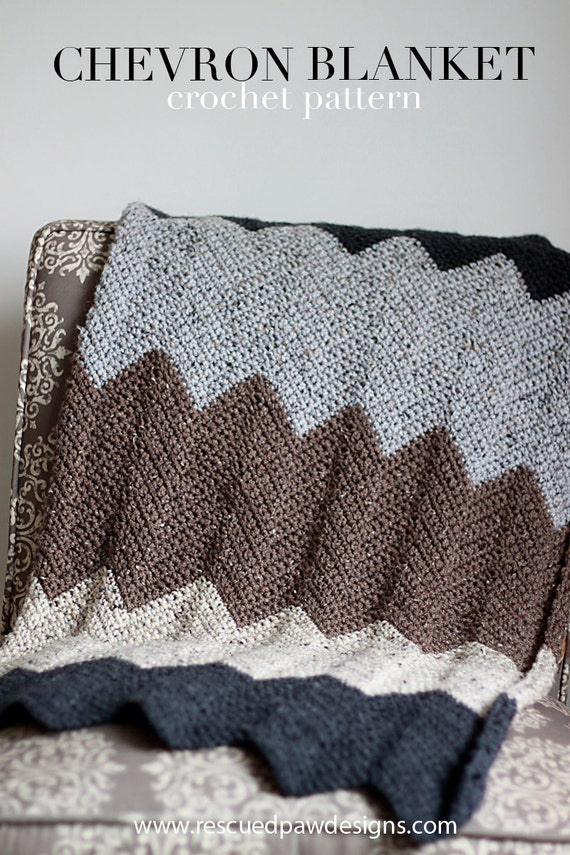Crochet Pattern ~ Chevron Blanket - neutral - modern color blocked blanket - crochet pattern -- striped - color block - PDF PATTERN