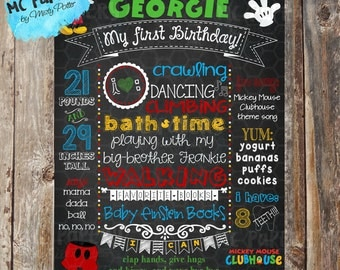 Mickey Mouse Printable Birthday Chalkboard Sign - YOU PRINT