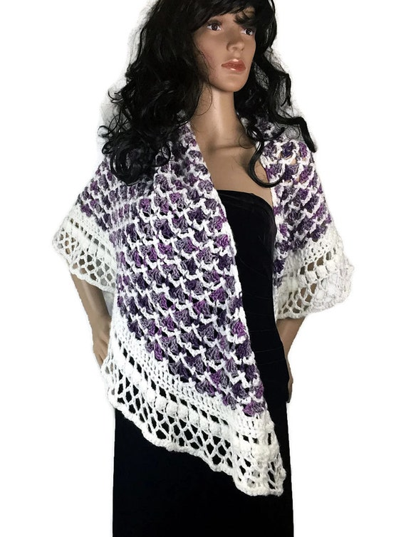 Cozy Winter Shawl - Purple White Gray Wrap - Winter accessories - Gift for Her OOAK Outlander Knits Chunky Crochet Knit FREE SHIPPING SH07