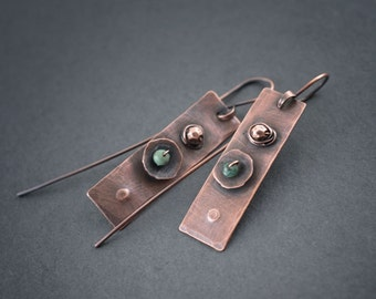 African Turquoise Earrings • Copper Jewelry • Handforged • Oxidized • Statement Earrings • Tribal • Modern • Artisan • Hand Made • Raw