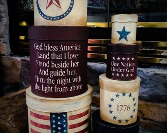 Made to Order: Primitive Americana paper mache stacked boxes