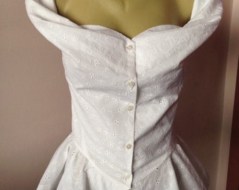 Steampunk Corset asymmetric top/ White cotton blouse/Gothic sexy slim fitted top