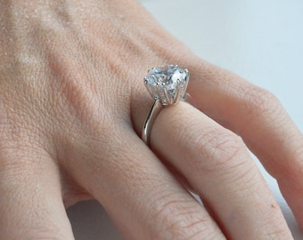 4ct Round Engagement Ring, 14K Gold Cubic Zirconia Engagement Ring