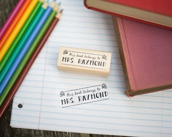 This Book Belongs To Customizable Stamp  - Bookplate Stamp - Ex Libris Stamp - Teacher Appreciation Gift - Book Organization - T8