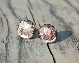 Pastel pink glass stud earrings - glass studs - glass post earrings - pastel pink post earrings - tiny stud earrings - dusty rose