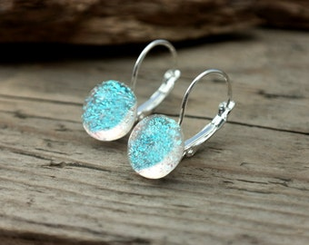 Aqua blue dange earrings, leverback earrings, glass long earrings, aqua blue long earrings, dichroic earrings