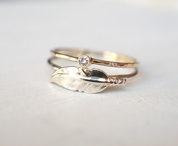 moissanite ring feather ring ring set sterling silver