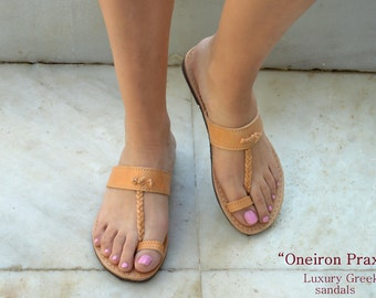 Ancient Greek Sandals,Leather Sandals with Straps,Natural Leather Sandals , Greek Sandals,Mythology inspired Sandals. Handmade in Greece.