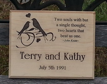 5th Anniversary Gift For Her Or Valentines Day Gift For Him. Personalized Carved Sign Anniversary custom sign 10x8 LS1