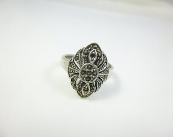 Marcasite Ring, Sterling Silver,  Art Deco Ring, Vintage