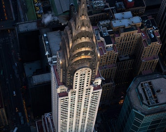 Into The Light, Chrysler Building, New York City, Aerial View, Art Deco, Midtown, Manhattan - Travel Photography, Print, Wall Art