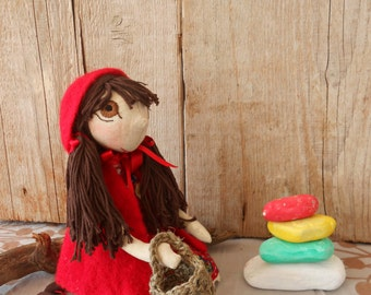 Little red riding hood doll, Handmade doll, Little red riding hood, Rag doll , Handmade rag doll , Natural doll, Rag doll