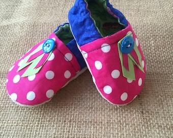 Cloth Shoes - Blue Button Polka Dot