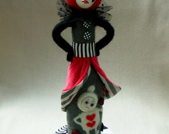 Alice in Wonderland. Queen of Hearts. Art doll. Red queen. Needle felted doll. Clay doll. OOAK. Soft sculpture. Wool doll.