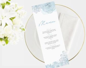 Wedding Menu Template | Instant Download  | Printable menu |  DIY I Floral blue