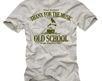 Mens funny Tshirt Grammophone Vinyl Music Tee Shirt S-XXXL