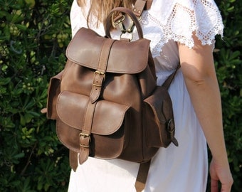 Waxed Leather Backpack, Leather Rucksack, Brown color, Mens Leather backpack - Womens backpack - travel backpack, leather knapsack  - LARGE