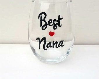 Best Nana hand painted stemless wine glass tumbler /Gifts for Nana/ I love my Nana
