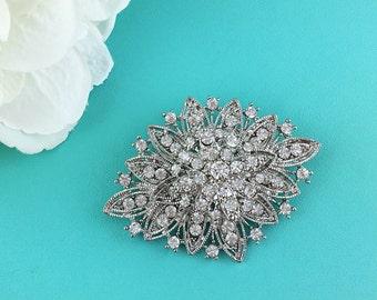 Vintage Rhinestone Brooch, Art Deco Wedding Brooch, Bridal Brooch, wedding brooches, wedding dress pin, bridal pin, brooch 205689480