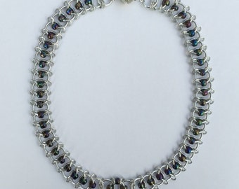 Beaded European Weave Chainmaille Necklace