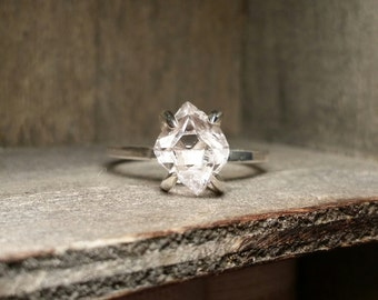 Herkimer Diamond Quartz Crystal Solitaire Ring- Sterling Silver