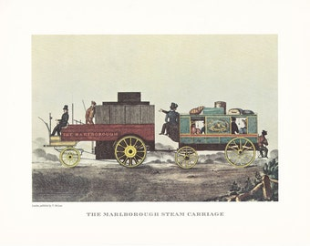 vintage steam train railway The Marlborough steam carriage print illustration home office décor 9.5 x 7 inches