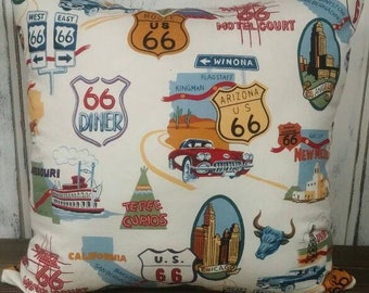 Route 66 Pillow Cover, Travel Pillow, Accent Pillow
