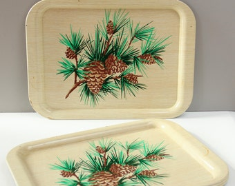 4 Vintage Metal Trays Pine Cone Rustic Holiday Decor-  1960s
