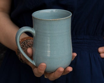 Large Pottery Mug 14oz / Big Stoneware Coffee Mugs / Ceramic Handmade Mug / Light Steel Blue Mug / Gift for Hostess / New Home Gift