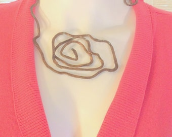 OOK Hammered Pure Copper Spiral Neckpiece. Feels Like Nothing on! free US ship 99.00 ea