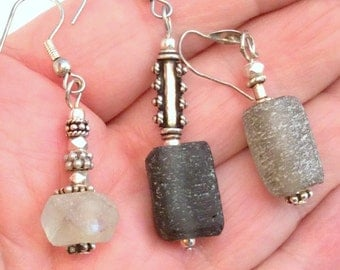 Black, Brown or Clear Earrings. Sterling Silver. 12 to choose from! Frosted Handmade Beach Glass posts or hooks. free US ship