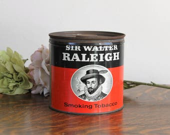 Vintage 1940s Tobacco Tin / 14 Oz Large Tin With Lid / Smoking Peraphenalia / Sir Walter Raleigh / Pipe Tobacco Collectible Container