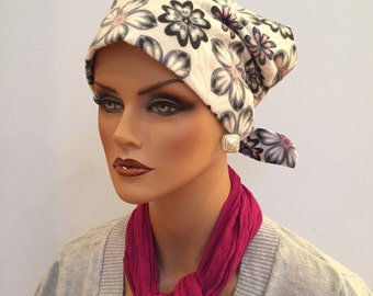 Krystal Women's Flannel Head Scarf, Cancer Hat, Chemo Scarf, Alopecia Headwear, Head Wrap, Head Cover for Hair Loss - Gray Floral