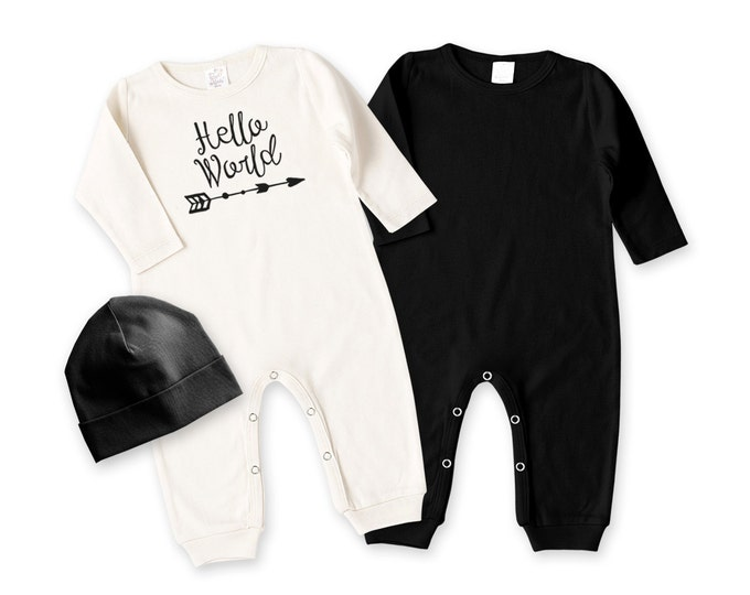 Newborn Baby Coming Home Outfit, Newborn Black White Coming Home, Newborn Hello World Bodysuit, Coming Home Bodysuit Tesababe RC003210BIY