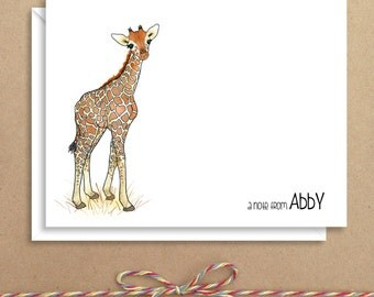 Giraffe Note Cards - Folded Note Cards - Personalized Children's Stationery - Thank You Notes - Illustrated Note Cards
