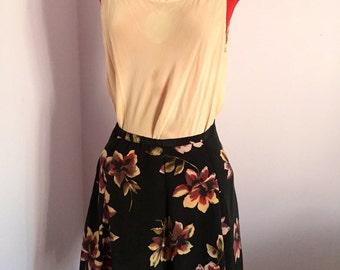 Vintage High Waisted Flower Power Skirt