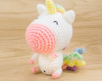 Rainbow Unicorn Amigurumi -- Unicorn Plush, Unicorn Stuffed Animal, Unicorn Decor, Crochet Unicorn, Unicorn gift for kids room decor