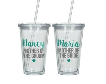 Set of two, Mother of the bride tumbler, Mother of the groom tumbler, Mother of the bride gift, Mother of the groom gift