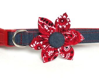 Denim on Red Flower Dog collar Set, flower for dog collar, wedding flower, pet collar flower, collar flower