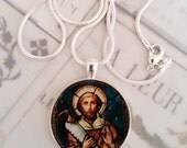 "St Simon Apostle Pendant with 20"" Sterling Silver Chain - 28mm"