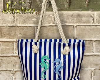 Tropical/Nautical/Beach/Seahorse Rope Tote Bag/Large Seahorse Bag With Rope Handles/Glitter Seahorses Nautical Canvas Bag With Rope Handles
