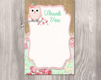 Owl baby shower Thank you card, INSTANT DOWNLOAD, Owl Thank you Note, baby owl instant download thank you card, printable, digital file