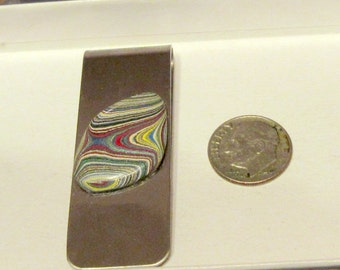 Fordite Cabochon Money Clip / 1960s Material with Striking Colors and Patterns
