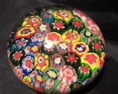 Vintage, millefiori glass paper weight Italy, a 'thousand flower' paperweight