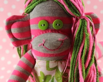 Sock Monkey / Pink and Green / Striped / Pink and Grey / Nursery Decor / Baby Shower Gift / Gifts for Her / Gifts for Girlfriend