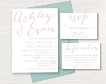 Calligraphy Wedding Invitation Suite, Custom Colors, Digital File