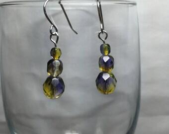 Yellow Blue Czech Fire Polished Glass Earrings