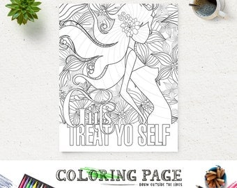 Girls Treat Yo Self Coloring Page Printable Quote Instant Download Digital Art Adult
