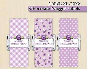 Floral Nugget Labels, Candy Wrapper, Purple Bridal Shower, Lavender Baby Shower, Garden Candy Buffet, Vintage Tea Party, Flower Kiss Sticker