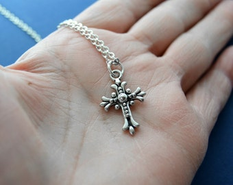 Ornate Cross Necklace on Sterling Silver Chain, Filigree Cross Pendant, Religious Jewelry, Mother's Day